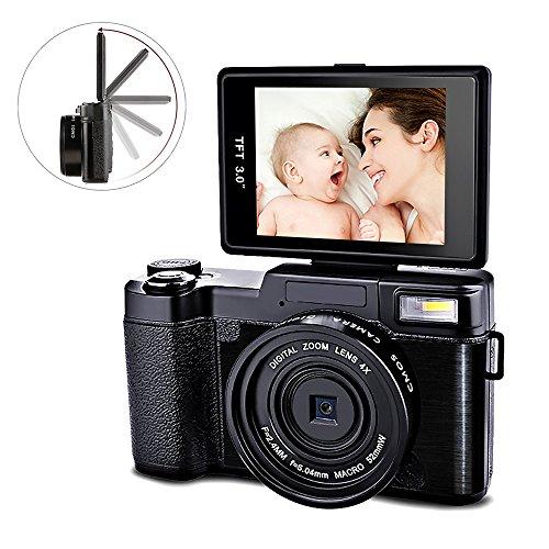 Videokamera Digitalkamera Camcorder Full HD 1080p 24.0 Megapixel Digital Video Recorder 4x Digital Zoom Einziehbares Blitzlicht 3 Zoll Bildschirm mit UV Objektiv