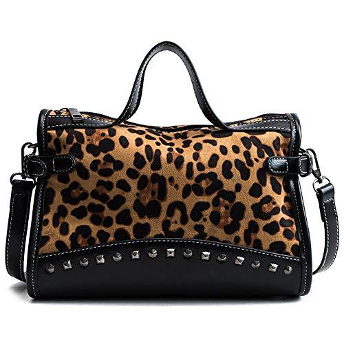 RFVBNM Vintage Bolsa Mujer/Gran Capacidad Remache Bolso/Bandolera Simple Mensajero Bolso, Leopardo de impresión