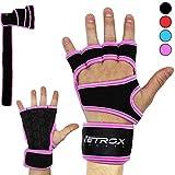 Netrox Fitness Handschuhe mit Handgelenkbandage Handgelenkstütze extra Grip und rutschfest für Herren und Damen in schwarz - Crossfit Krafttraining Kraftsport Bodybuilding Sport Gym Gloves (Rosa, S)