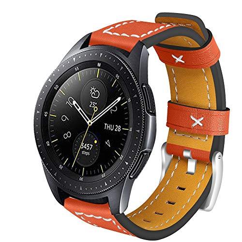 samLIKE Leder Armband für Samsung Galaxy Watch 46mm für Herren und Damen Premium Ersatzarmband Klassischer Stil Einzigartiges Design Band, 6 Farben, 185MM (Orange) -