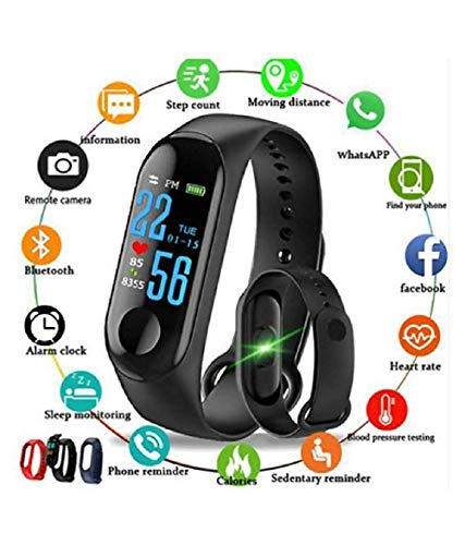 VELL- TECH M3 Smart Wristband Waterproof Fitness Activity Tracker Heart Rate Monitor Instant Message Incoming CallAlert for All Android (M3 Black-1)