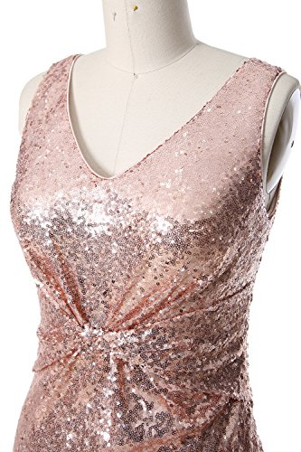 MACloth Women Straps V Neck Sequin Evening Gown Open Back Long Bridesmaid Dress Weinrot