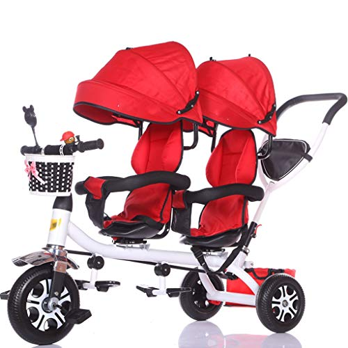 Portatile Carrozzina Doppio triciclo for bambini Doppio carrello for bicicletta for bambini Passeggino grande Cestino for tenda da sole Viaggi all'aperto (Color : E)