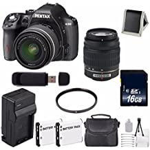 Pentax K-50 DSLR Camera With 18-55mm And 50-200mm Lenses (Black) + Replacement Lithium Ion Battery + External Rapid Charger + 16GB SDHC Class 10 Memory Card + Deluxe Starter Kit 6AVE Bundle