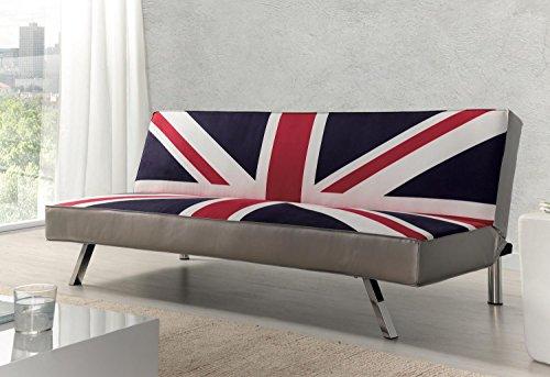 Due-home - Sofa Cama Clic-clac, Patas cromadas, Acabado en Estampado Bristish, Medidas:...