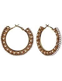 Efulgenz Antique Gold Plated Pearl Traditional Hoop Bali Earrings For Girls And Women