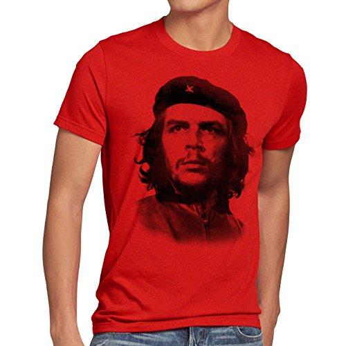 Style Che Herren T-Shirt Kuba Guevara Revolution Guevara, Größe:XXL, Farbe:Rot -