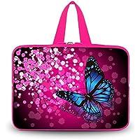 Blu farfalla in fiori viola 35,6cm pollici laptop manicotto protettivo borsa custodia borsa da trasporto con manico per 35,6cm Alienware ALW14–2500SLV/vizio ct14-a1sottile e leggero/Dell Inspiron 14R/PC portatile HP Pavilion dm4