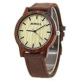 Bewell W134A Vigilanza di legno naturale del bewell con tela di canapa durevole orologio da polso di...