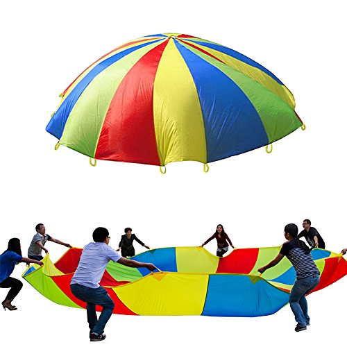 Play Parachute Spiel Zelte Regenbogen Regenschirm Familie Kinder lernen Übung Sport Entwicklung Werkzeug Toys Aktivitäten für Indoor Outdoor 3m/9.84ft 190T 8Füße mit 8Griffen für 8-14Kinder