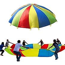 Play–Juego de paracaídas tiendas Rainbow paraguas familia niños niños aprendizaje ejercicio Deporte Herramienta de Desarrollo Juguetes actividades para interior exterior 3m/9.84ft 190T 8pies con 8asas para 8–14Kids