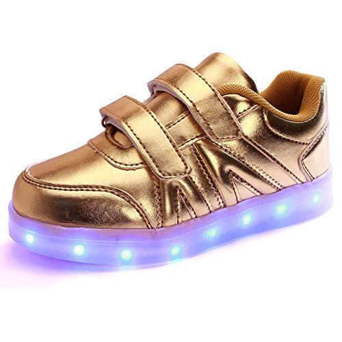 Wealsex Baskets Mode Scratch PU Cuir LED Lumière Clignotant 7 couleurs USB Rechargeable Noir Blanche Or Argent Enfant Unisexe Garçon Fille Or