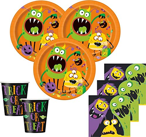 Kids Party World 48 Teile Halloween Deko Set Kleine Monster 16 Personen (Party Halloween Kids)
