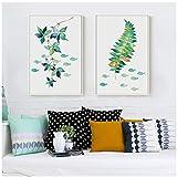 chaoaihekele Pflanze Laub Gras und Fisch-abstrakte einfache Dekoration-Kunstdruck Poster Wand Bild-Leinwand Gemälde Wand Dekor 60x90cmx2 (kein Rahmen)