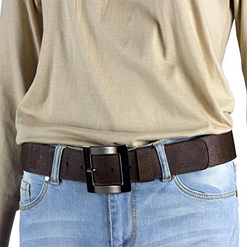 Corkor Damen Gürtel Ratsche Gürtel für Männer 40mm Breit Vegan aus Veganer Braun korkleder - 2