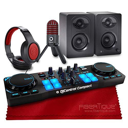 Hercules DJControl Compact Controller für Serato DJ Software + Lautsprecher + Kopfhörer + Deluxe Zubehör Bundle (Serato Dj Hercules)