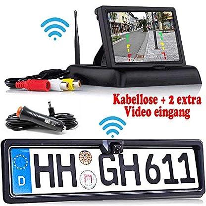 HSRpro-Rckfahrkamera-mit-Nummernschild-inkl-Monitor-Bis-zu-5-Jahre-Garantie-Drahtloser-Kabellose-Funk-oder-Kabel-Vinbindung-fr-PKW-KFZ-Auto-Bus-Transporter-Rear-View-Camera-Kamera