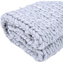 Couverture en laine épaisse tricotée main, douce et chaude, pour sofa,  natte de 35384b32e3e