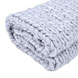 Jannyshop Handgefertigt Wolldecke Wolle Sticken Decke Kuscheldecken Knitted Blanket Super Warm im Winter Zuhause Dekor Geschenk 1M*0,8M/1M*1,2M/1,5*1,2M (Grau, 120cm * 150cm)