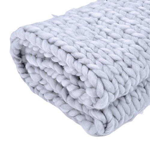 Couverture en laine épaisse tricotée main, douce et chaude, pour sofa, natte de couchage, gris, 150 * 120 cm