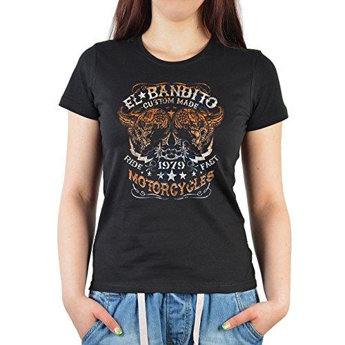 (Unbekannt Damen Girlie ::: Gothic - EL Bandito with Skulls ::: USA Shirt mit Motiv)