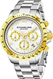 Stuhrling Original Mens Quartz Chronograph Watch White Dial Date Tachymeter Sport Wrist Watch Solid Stainless Steel Link Bracelet Deployant Clasp 50 Meter Water Resistant Designer Watch Collection