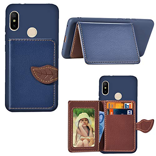 Artfeel Hülle für Xiaomi Redmi 6 Pro Brieftasche Hülle Dunkelblau,Dünn PU Leder Flip Handyhülle mit Kartenhalter,Mode Blatt Magnetverschluss Ständer Geldbörse Stoßfest Schutzhülle -