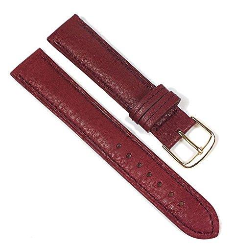 Öko Nappa Ersatzband Uhrenarmband Nappaleder Bordeaux 22355G, Stegbreite:20mm