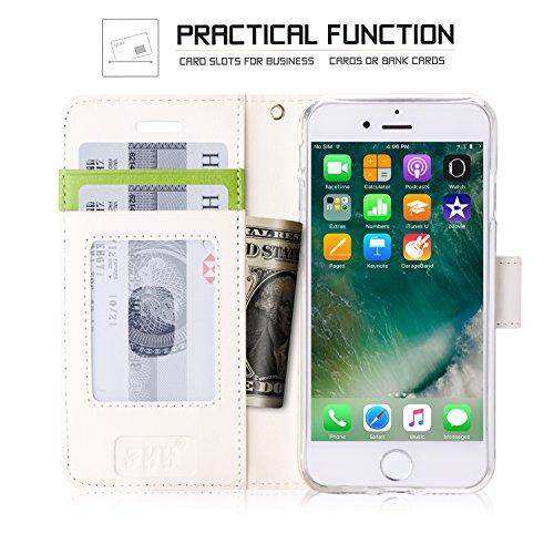 iPhone 8 Plus Hülle , iPhone 7 Plus Hülle, Fyy® [RFID Blockierender Geldbeutel] 100% handgenähter Geldbeutel mit Kartenhaltern für Apple iPhone 8/7 Plus ,Mintgrün C-Pattern-63