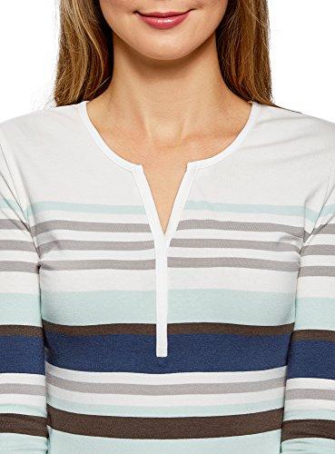 oodji Ultra Damen Henley T-Shirt Gestreift mit 3/4 Arm Beige (2365S)