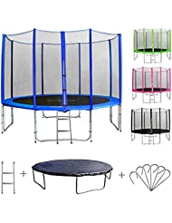 SixBros. Sixjump 3,70 M Trampoline de jardin bleu Certifié par Intertek/GS Filet de sécurité - Échelle - Housse de protection CST370/L1720