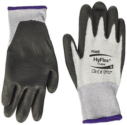 Ansell Hyflex 11-624/6 Gant anti-coupures, protection mécanique, taille 6 (sachet de 12 paires), Noir