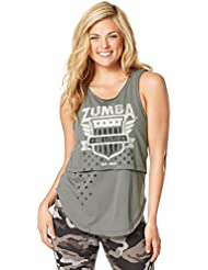 Zumba Fitness Z Army Layered - Camiseta sin mangas para mujer, color gris, talla S