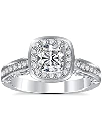 Silvernshine 2Ct Asscher Cut Clear CZ Dimoands 14K White Gold Plated Engagement & Wedding Ring