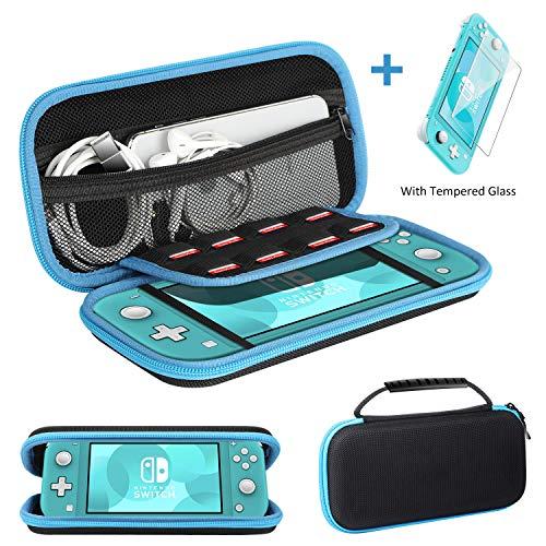 Ztotops Etui pour Nintendo Switch Lite, avec Protection d'écran en Verre Trempé, Housse de Transport Rigide avec 8 Cartouches de Jeu pour la Console Nintendo Switch Lite et Ses Accessoires - Bleu