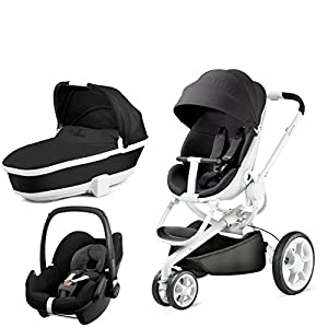 Quinny Moodd with Carrycot Black Irony and Pebble Black Devotion Venicci Carrycot: L 102cm W 61cm H 112 cm Age suitability: From birth to 6 months Seat unit: L 95cm W 61cm H 112cm Age suitability: From 7 to 36 months Chassis without wheels: L 82cm W 51cm H 28cm 5
