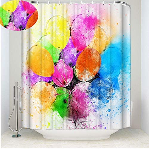 CHRISTMAD 3D Shower Curtain 3D CHRISTMAD Digital Printing Impermeabile Tenda da Doccia Tessuto in Poliestere Fibbie di Rame Bagno Paesaggio Decor Cucciolo/Fiore/Pallone da Bagno Tenda da Bagno Regalo,D-72 * 96in 7bde23