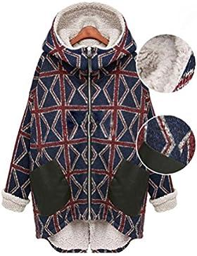 Wei forcarry Las mujeres de invierno y Cachemira con capucha abrigo mangas largas suelta chaqueta de algodón caliente...