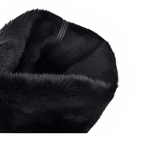 COOLCEPT Femmes Mode Wedge Bottes A Enfiler Black