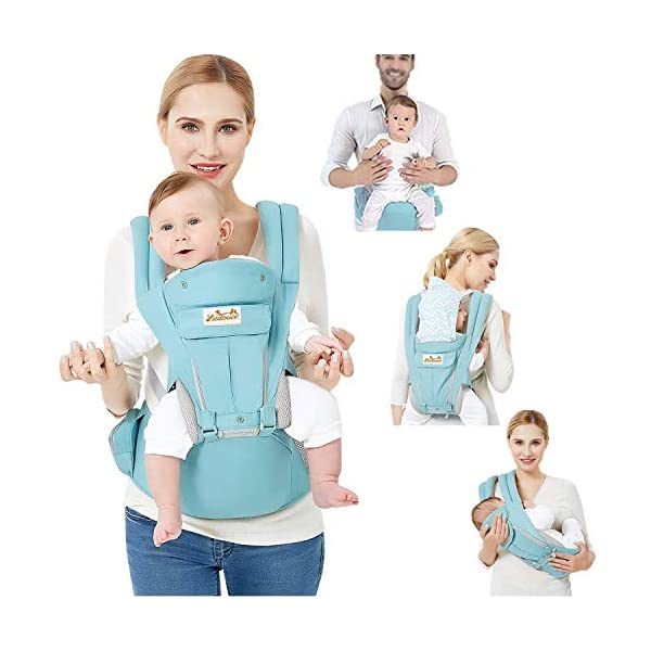 Viedouce Baby Carrier Ergonomic with Hip Seat/Pure Cotton Lightweight and Breathable/Multiposition:Dorsal, Ventral, Adjustable for Newborn and Toddler from 0 to 4 Years (3.5 to 20 kg) Viedouce 【More environmentally friendly】-Baby carrierhashighquality pure cotton fabric with 3D breathable mesh take care of your health and the health of your baby; The detachable sun visor and wind cap provide warmth in the winter and freshness in the summer. At the same time, the zipper buckle is designed for easy disassembly and cleaning. 【More ergonomic】 -Baby carrier for newborn has anenlarged arc stool to better support the baby's thighs, the M design that allows the knees to be higher than the buttocks when your baby sits, is more ergonomic. 【Comfort and safety】 - The area near the abdomen is filled with a soft and thick sponge, reduces the pressure on the abdomen and gives more comfort to you and your baby. High quality professional safety buckles and velcro, shock absorbing pads, are equipped to protect your baby. 1