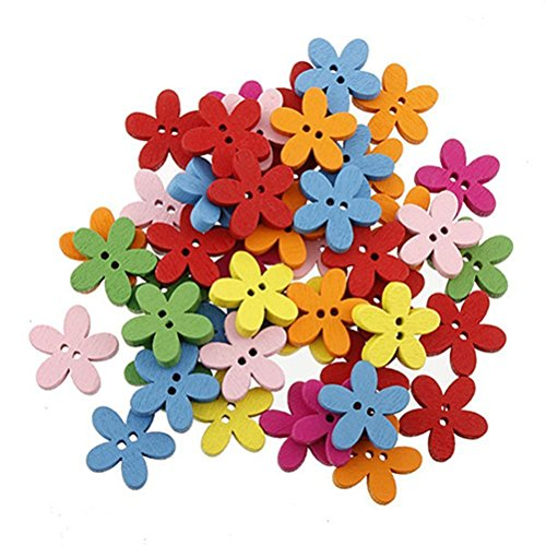 Preisvergleich Produktbild WINOMO 100pcs Bunte Blume Flatback Knöpfe Nähen Scrapbooking Handwerk