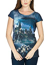 T-shirt girlie Harry Potter Hogwarts Poudlard Loose Fit Elbenwald noir