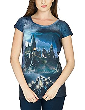 Harry Potter - Camiseta con diseño de Hogwarts para chica, color negro