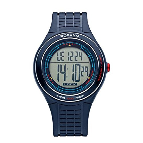 RODANIA MEN'S DIGITAL BLUE POLYCARBONATE BAND PLASTIC CASE WATCH 26185.59