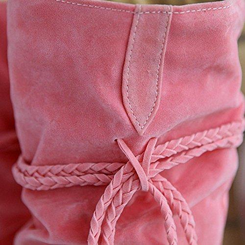 Longra La decorazione delle nappe delle donne aumenta gli stivali alti medi di punta Rosa