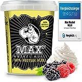 MAX MUSKEL MÜSLI Protein Müsli Low Carb ohne Zucker-Zusatz & Nüsse - Müsli to go wenig Kohlenhydrate viel Eiweiss Sportlernahrung für Muskelaufbau & Abnehmen 100g ToGo Becher (Berries & Cream)