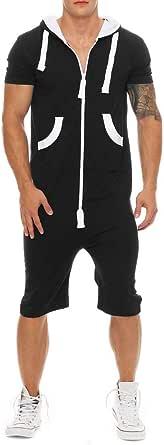 Men Jumpsuit Hooded Jumpsuits Slim Pocket Romper Sport Jogging Tracksuit Playsuit