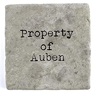 Property of Auben - Single Marble Tile Drink Coaster