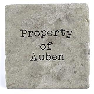 Property of Auben - Single Marble Tile Drink Coaster