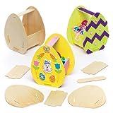 Bastelsets für Osterkörbchen aus Holz für Kinder als Bastel- und Deko-Idee Zum Gestalten für Jungen und Mädchen (3 Stück)